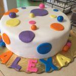 "8"" Polka Dot Rainbow Fondant Cake"